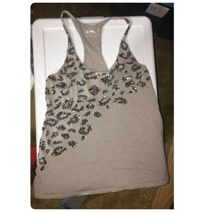 Express gray tank with sequins size small